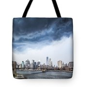 Thunderstorm Over Manhattan Downtown Tote Bag