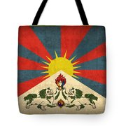 Tibet Flag Vintage Distressed Finish Tote Bag