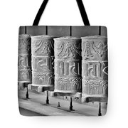 Tibetan Prayer Wheels - Black And White Tote Bag