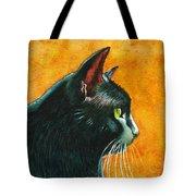 Black Cat In Profile Tote Bag