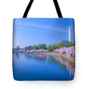 Tidal Basin And Washington Monument With Cherry Blossoms Tote Bag