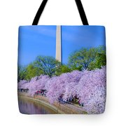 Tidal Basin And Washington Monument With Cherry Blossoms Vertical Tote Bag