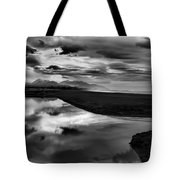 Tidal Pond Sunset New Zealand In Black And White Tote Bag