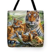 Tiger And Cubs Tote Bag by Adrian Chesterman