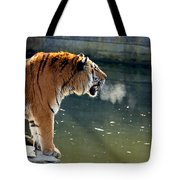 Tiger Breathing Into Cold Air By The Water Tote Bag