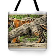 Tiger By The Log Tote Bag