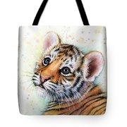 Tiger Cub Watercolor Art Tote Bag