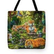 Tiger Family At The Pool Tote Bag