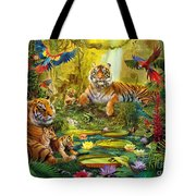 Tiger Family In The Jungle Tote Bag by Jan Patrik Krasny