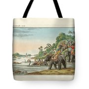 Tiger Hunting On An Indian River Tote Bag