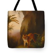 Tiger In A Cave Tote Bag
