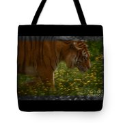 Tiger In The Midst Of Buttercups Tote Bag