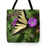 Tiger Swallowtail Butterfly On Geranium Tote Bag
