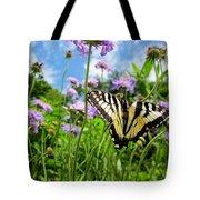 Tiger Swallowtail On Pincushion Flowers Tote Bag