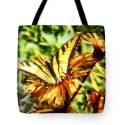 Tiger Swallowtail On Yellow Wildflower Tote Bag