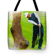 Tiger Woods Hits A Shot From The Rough Tote Bag