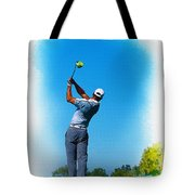 Tiger Woods Plays His Tee Shot On The 15th Hole Tote Bag