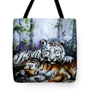 Tigers-mother And Child Tote Bag