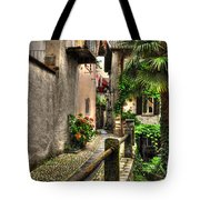 Tight Alley With Palm Trees Tote Bag