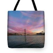 Tilikum Crossing Over Willamette River In Portland Oregon Tote Bag