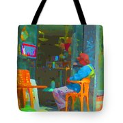 Tim Hortons Coffee And Donuts Sunday Aternoon At Tims Plateau Montreal Cafe Scene Carole Spandau Tote Bag