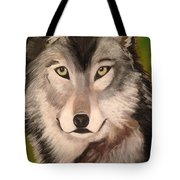 Timber Wolf In Summer Tote Bag