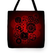 Time Clock Gears Clipart On Red Background Tote Bag