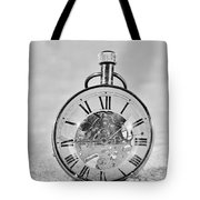 Time In The Sand In Black And White Tote Bag