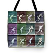 Time Lapse Motion Study Man Running Color Tote Bag