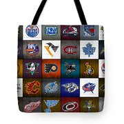 Time To Lace Up The Skates Recycled Vintage Hockey League Team Logos License Plate Art Tote Bag