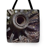 Time Worn Antique Wagon Wheel Tote Bag