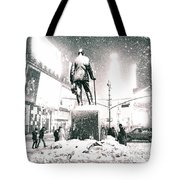 Times Square In The Snow - New York City Tote Bag