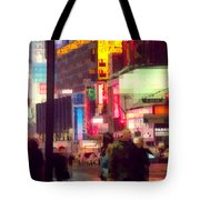 Times Square - Man Walking With Yellow Bag Tote Bag