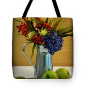 Tin Bouquet And Green Apples Tote Bag
