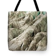 Tiny Man Walks Expansive Alpine Glacier Icefield Tote Bag