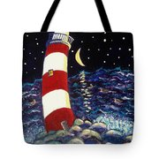Tipsy Lighthouse With White Cat Tote Bag