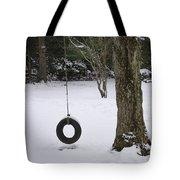 Tire Swing In Winter Tote Bag
