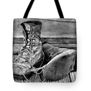 Tired Leather In Black And White Tote Bag