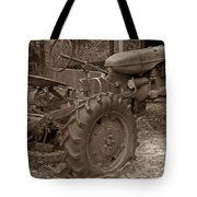 Tired Tractor...... Sepia Tote Bag