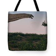 Titanosaurus Standing Grazing In Swamp Tote Bag