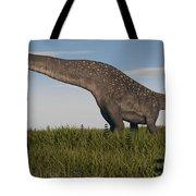 Titanosaurus Standing In Swamp Tote Bag