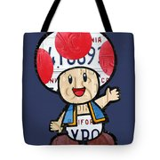 Toad From Mario Brothers Nintendo Original Vintage Recycled License Plate Art Portrait Tote Bag