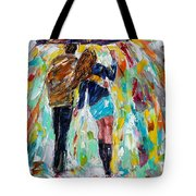 Together In The Rain  Tote Bag