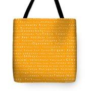 Tokyo In Words Orange Tote Bag