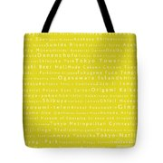 Tokyo In Words Yellow Tote Bag