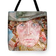 Tom Baker Doctor Who Watercolor Portrait Tote Bag
