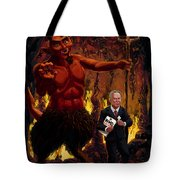 Tony Blair In Hell With Devil And Holding Weapons Of Mass Destruction Document Tote Bag by Martin Davey