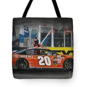 Tony Stewart Climbs For The Checkered Flag Tote Bag