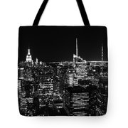 Top Of The Rock In Black And White Tote Bag