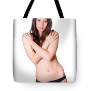 Topless Brunette Tote Bag